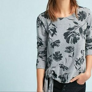 Anthropologie t.la floral tie front long sleeve